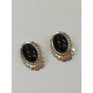Sterling Oval Earrings, Black Cabochon, Marked LS